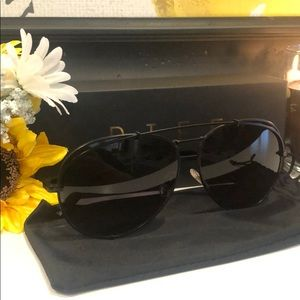 Matte black aviator style sunglasses